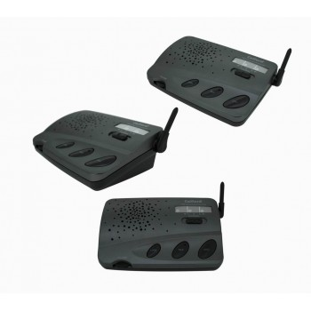 Refurbish 4 Channel Wireless Intercom Home Office Call All Communication Charcoal 3 Stations System